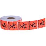 "1000 Count Bio-Hazard Warning Sticker - Red, Black Adhesive Warning Labels With Biological Hazard Symbol - 2"""