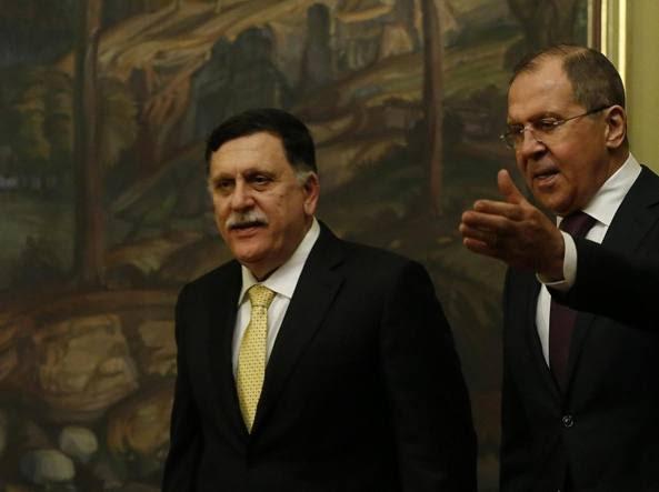 Sarraj e Lavrov a Mosca (Epa)