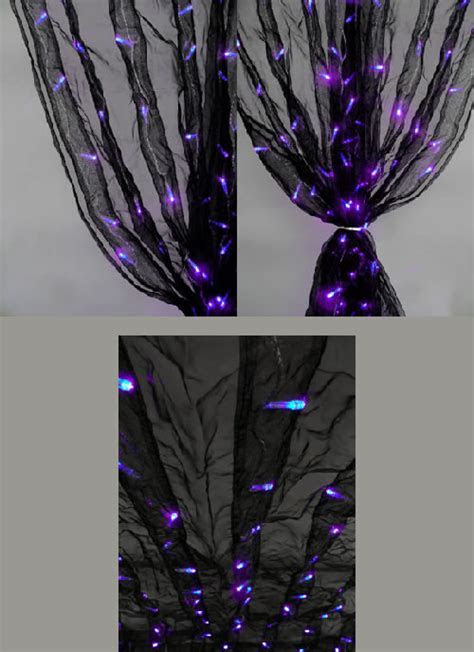 8ft Black Organza Curtain with Purple LED Lights