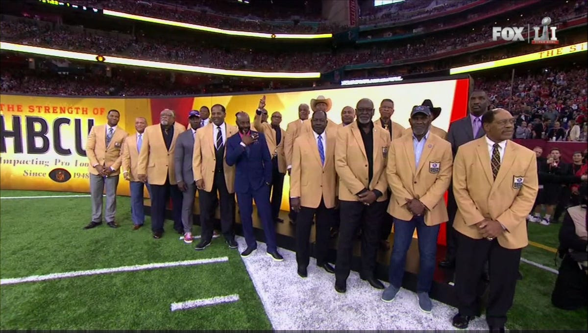 Before kickoff, some of the all-time great NFL players from historically black colleges and universities were honored.
