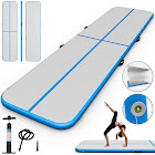 Gymax 13' Inflatable Gymnastics Mat Air Track Floor Mat Water Buoyancy with Pump Blue