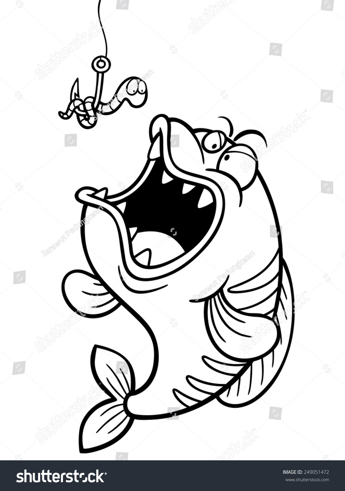 Vector Illustration Of Fish With Fishing Hook - Coloring ...