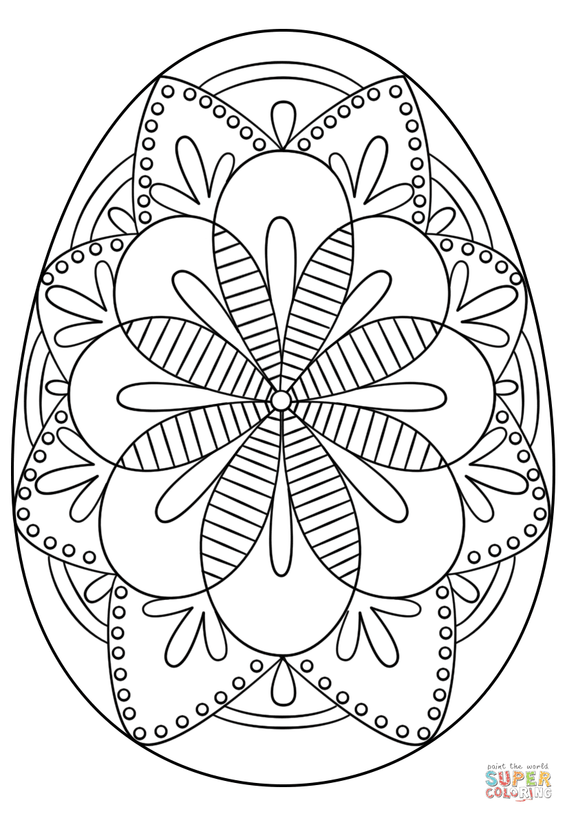 Intricate Easter Egg coloring page | Free Printable ...