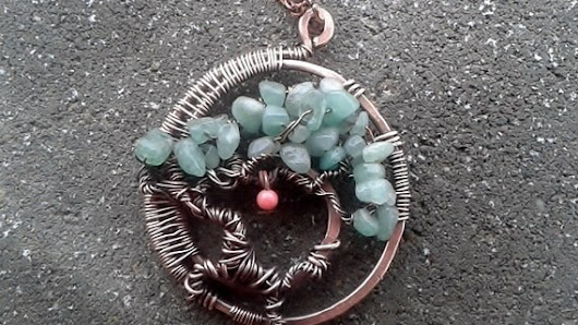 Handmade copper wire the tree of life with by Tangledworld on Etsy