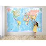 Giant World Wall Map Mural (blue)
