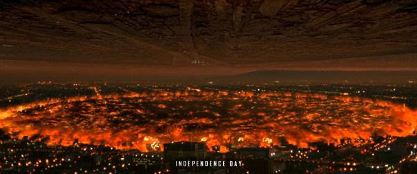 An alien destroyer obliterates Los Angeles in this scene from the first INDEPENDENCE DAY movie.