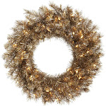 Vickerman A149125 24 in. Metal Mixed Tinsel Wreath with 50 Clear LED Light