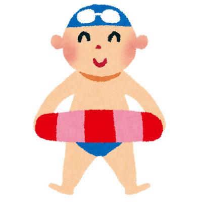 無料素材 海水浴の男の子を描いたイラスト水着スイムキャップ