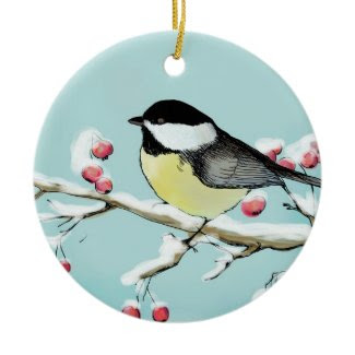 Painted holiday background with titmouse ornament