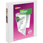 """AVE17012 Durable View Binder With Slant Rings, White, 1"""""""