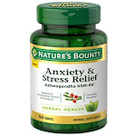 Natures Bounty Anxiety and Stress Relief, Ashwagandha KSM-66 Tablets, 50 Ea