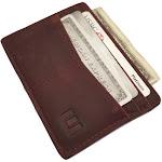 Walleteras RFID Minimalist Front Pocket Wallet / Credit Card Holder with ID Window - Espresso Wine Red / Plus