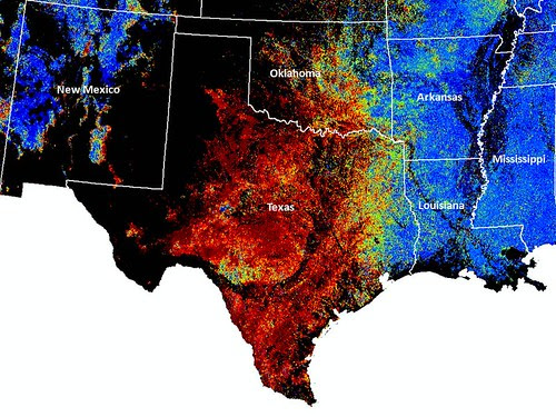 ForWarn maps normal forest conditions as blue and change from normal as shades that range from green to red. This map shows that the greater part of Texas and Oklahoma were experiencing severe forest stress in late September of 2011 from the effects of drought and wildfire.