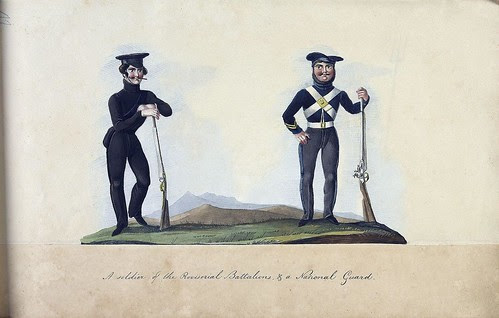 A soldier of the Provisorial Battalions, + a National Guard