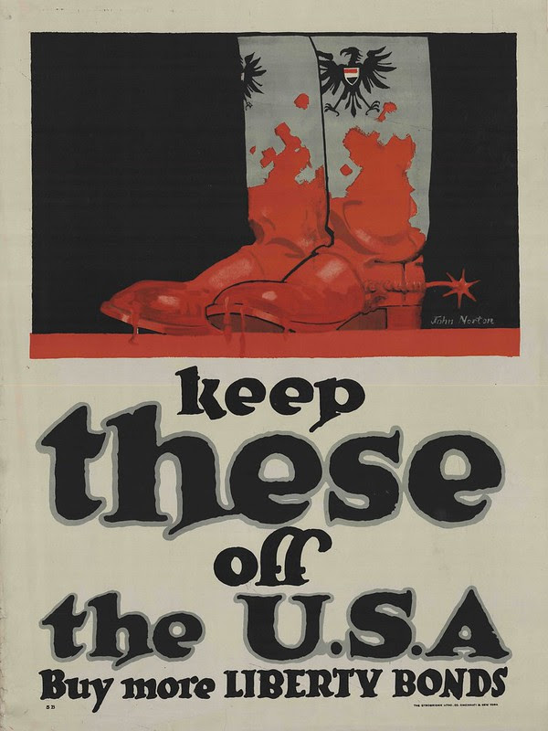 illustrated boots covered in stylised blood and war effort text in big font size below
