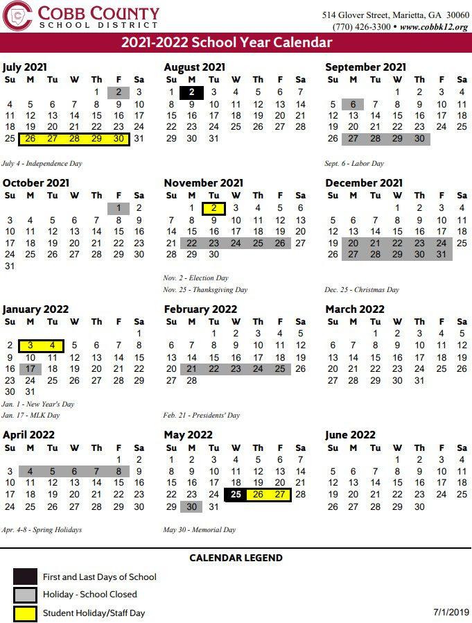 Fort Zumwalt Calendar 2022 2023.Cobb County Schools 2021 22 Calendar 2021 Calendar