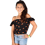 Lori&Jane Big Girls Black Pineapple Off Shoulder Short Sleeve T-Shirt