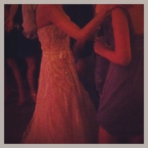 My cousin's dress is GORGEOUS! {blush colored with ribbon embellishments}