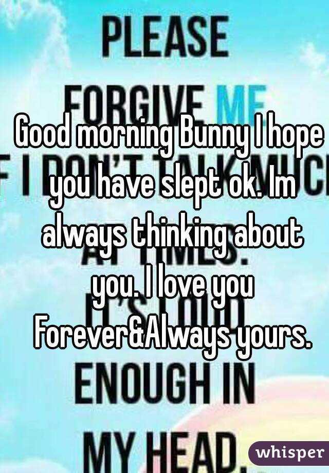 Good Morning Bunny I Hope You Have Slept Ok Im Always Thinking