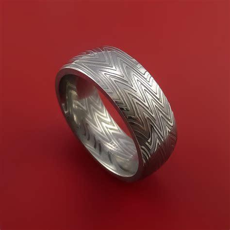 Damascus Steel Ring Stripe Pattern Wedding Band Zebra Look