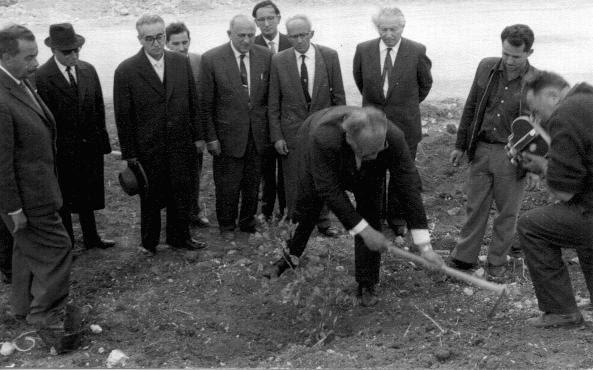 In Yad Vashem, the Israeli national institution of Holocaust commemoration, Oskar Schindler plants a tree in honor of his rescue efforts. Jerusalem, Israel, 1962.