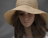 crocheted hat, raffia hat, straw hat, sun hat, summer hat,big brim hat