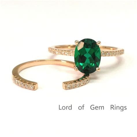 6x8mm Oval Emerald Wedding Ring Set! 14K Rose Gold with