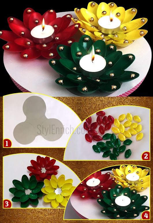 Diwali Diya Decoration From Plastic Spoons to Adds an Extra Spark