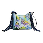 Women's ANNA by Anuschka Hand Painted Leather Fringed Crossbody Bag 8377, Adult, Size: OSFA, Butterfly Glass Painting Blue