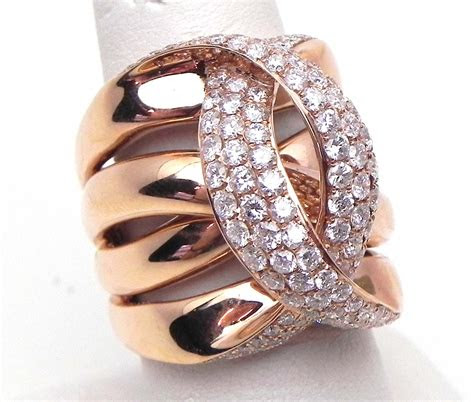 ladies  rose gold  cts diamonds crossing  wide