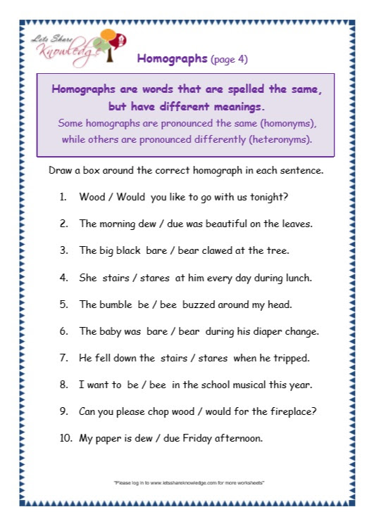 Grade 3 Grammar Topic 25 Homographs Worksheets Lets Share Knowledge