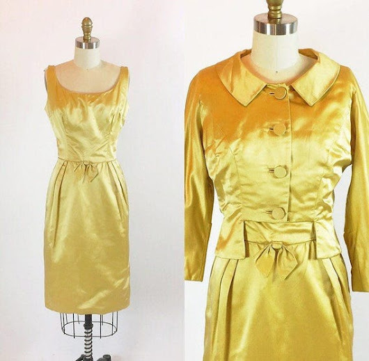 Vintage 1950s Shimmering Satin Gold Dress  by RetroThreadzVintage