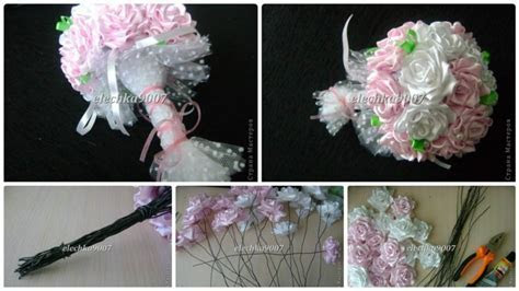 How to make beautiful wedding bouquet of ribbon flowers