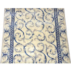 Dean Ivory Blue Scrollwork Custom Length Carpet Stair Hallway Runner Rug - Sold by The Linear Foot