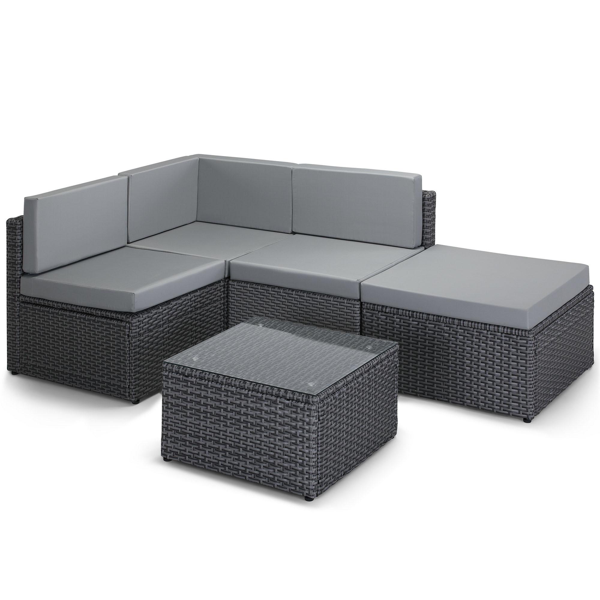 VonHaus Rattan Corner Sofa Modular Set Wicker Weave L ...
