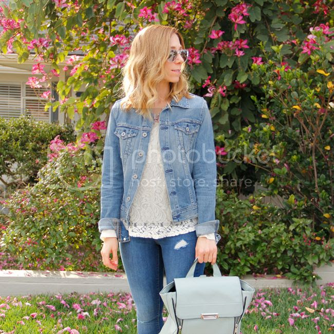 L.A. fashion blogger The Key To Chic wears an AG Jeans 'Robyn' denim jacket, Old Navy Rockstar denim, and a pastel green Phillip Lim inspired Mossimo backpack