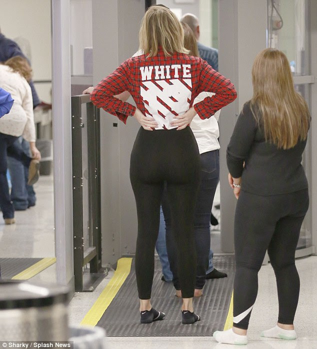 A rump to envy? it seems that Khloe wasn't planning on hiding her curves, even when it came to travelling on a plane, as she slipped her toned legs and ample rump into a pair of skintight leggings