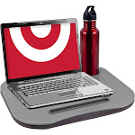 Trademark Global Laptop Buddy Cushion Desk with Pen and Cup Holder, Gray