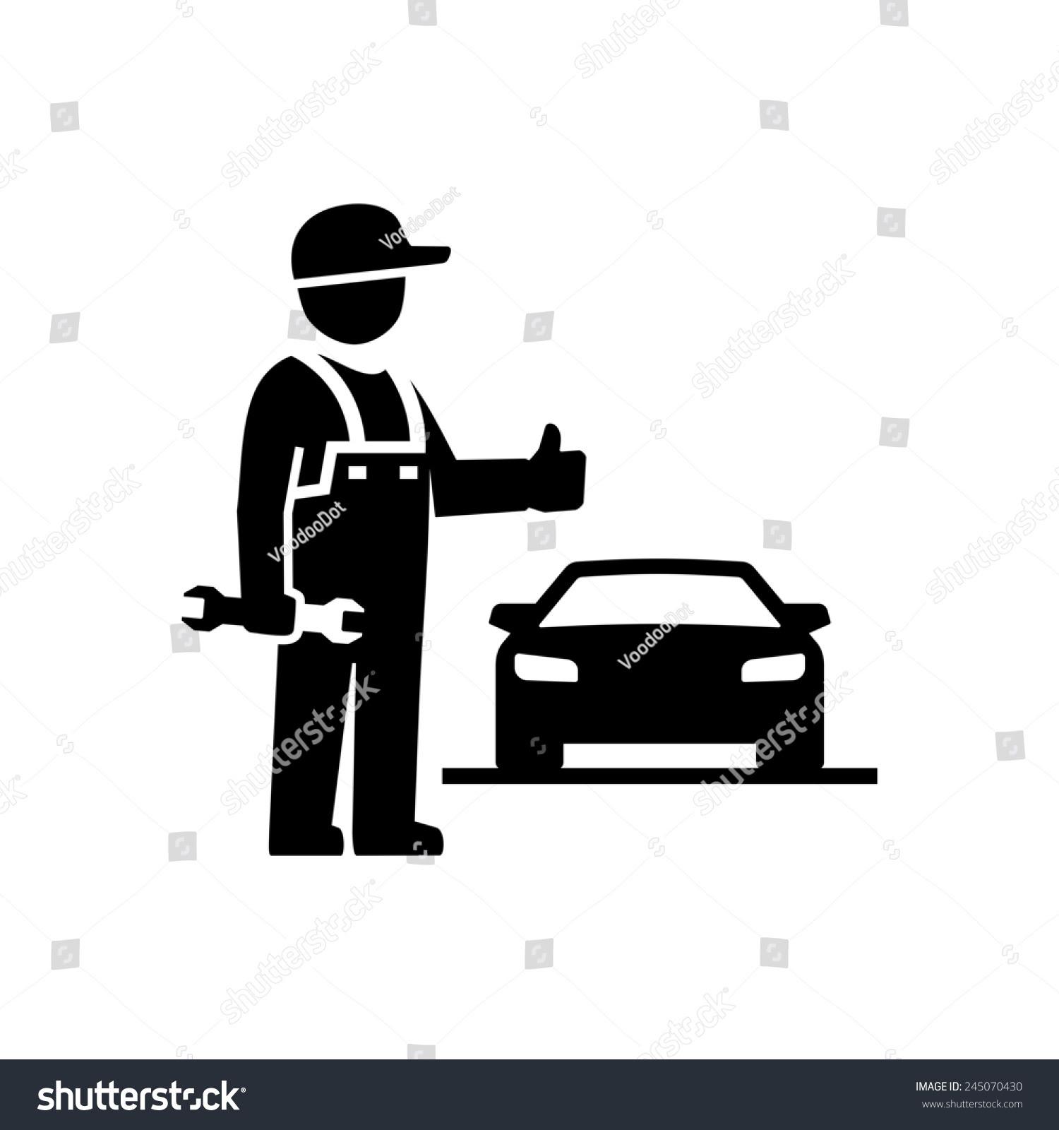 Car Mechanic Showing Thumb Figure Pictogram Stock ...
