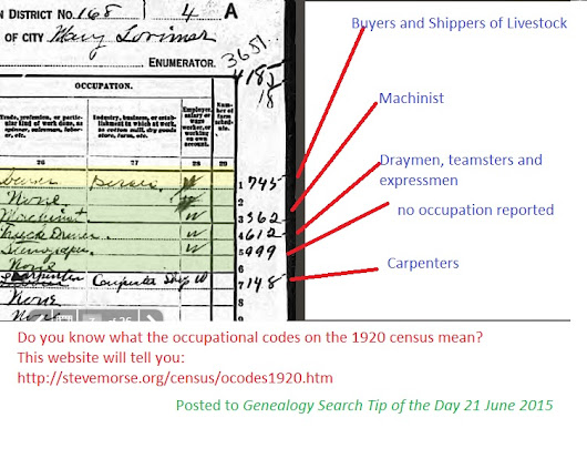 1920 Census Occupational Codes | Genealogy Search Tip