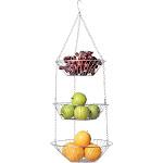 Home District 3 Tier Chrome Hanging Fruit Basket - Adjustable Graduated Wire Food Storage Bowls