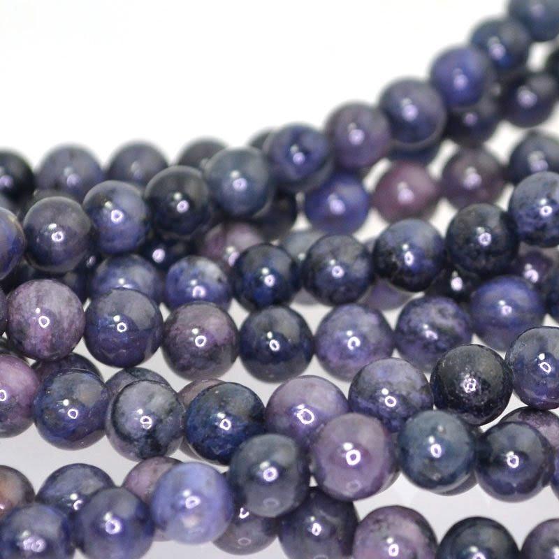 s41118 Stone Beads - 6 mm Round - Purple Dumortierite (strand)