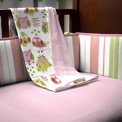 carousel designs girly-owl-crib-blanket