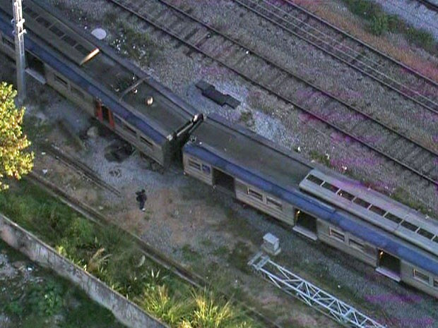 Descarrilamento de trem da linha 7-Rubi da CPTM (Foto: Reprodução/TV Globo)