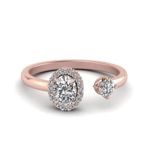 Oval Halo Diamond Open Engagement Ring In 14K Rose Gold