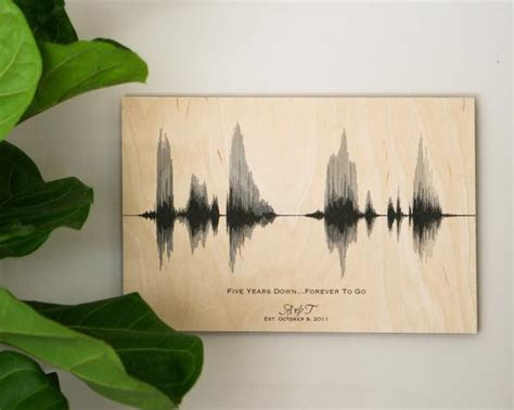 5th Anniversary Wood Gift for Him, for Her, Sound Wave