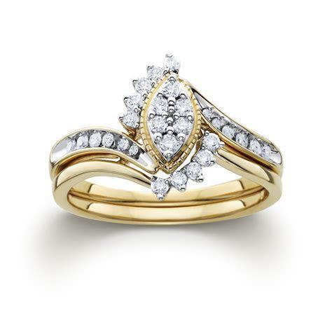 1/3CTTW Certified Diamond Marquise Bridal Set 10K Yellow