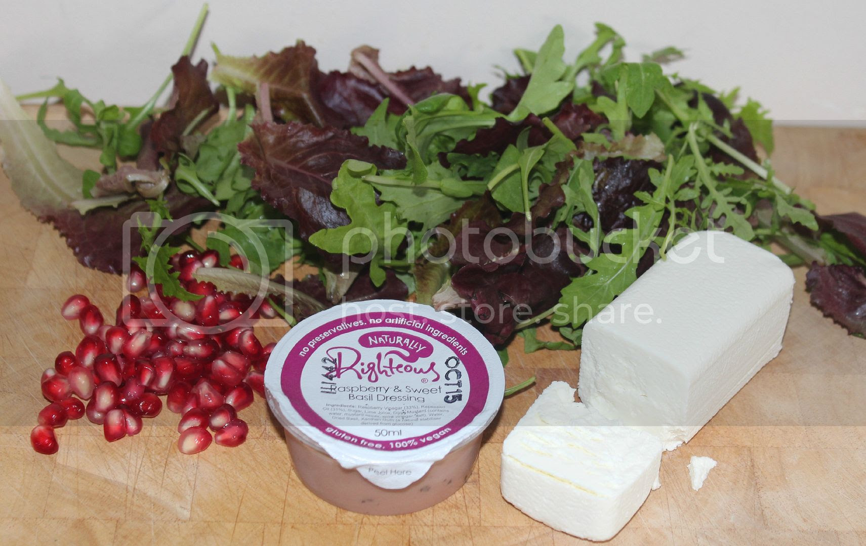 ingredients for pomegranate and goats cheese salad