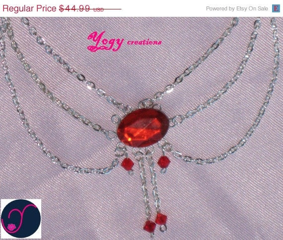 SALE 10% Off Vintage red diamante crystal bead silver plated chain victorian necklace jewelry gift