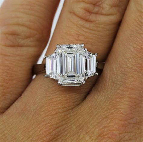3 stone emerald cut diamond engagement ring   Engagement